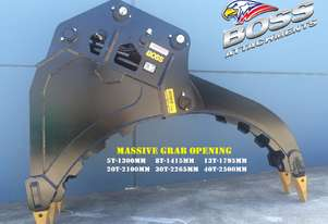 BOSS 4-50 ton DEMOLITION/ROCK BUCKET GRAPPLES