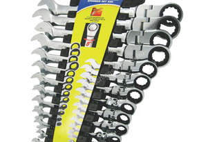 A89703 - 13 PC FLEXIBLE-HEAD RATCHET COMBINATION SPANNER SET SAE
