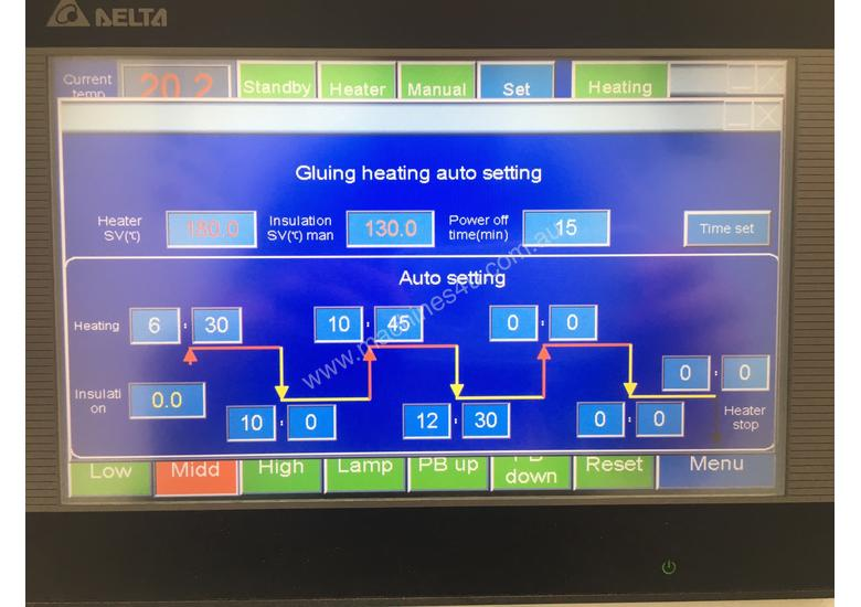 Corner rounding. 3 speed to 23m/min.Touch screen settings. Unmatched value