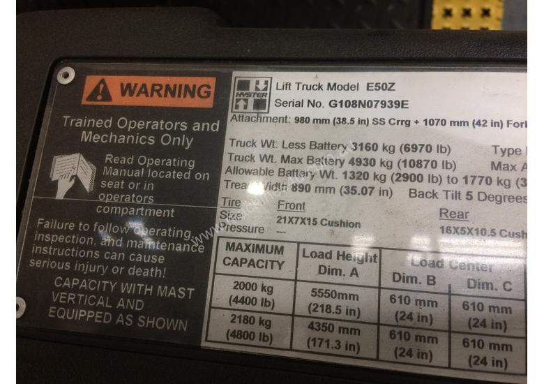 Used Hyster 4 Wheel Battery Electric Forklift