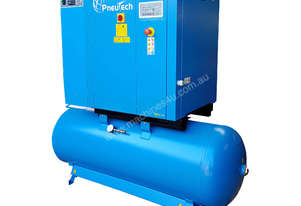 Pneutech 15hp Rotary Screw Air Compressor, Compressed Air Dryer, 500L Receiver - 5 YEAR WARRANTY