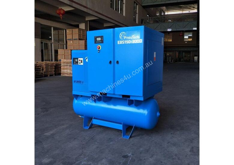 FOCUS INDUSTRIAL 50 CFM /15hp Rotary Screw Compressor w/ Integrated Air Dryer & Receiver Tank.