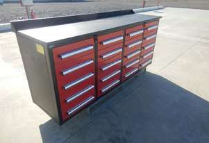 LOT # 0185 Work Bench/Tool Cabinet c/w 20 Drawers