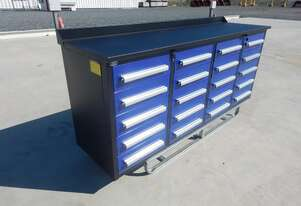 2.1m Work Bench/Tool Cabinet, 20 Drawers (Blue)