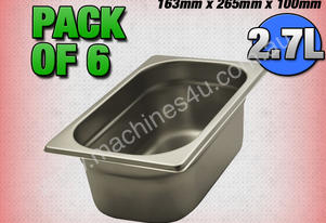 6 PACK OF 1/3 GASTRONORM TRAY 100MM