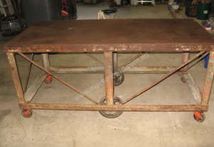 VINTAGE STEEL MOBILE WORK BENCH 1675L X 765W X 760