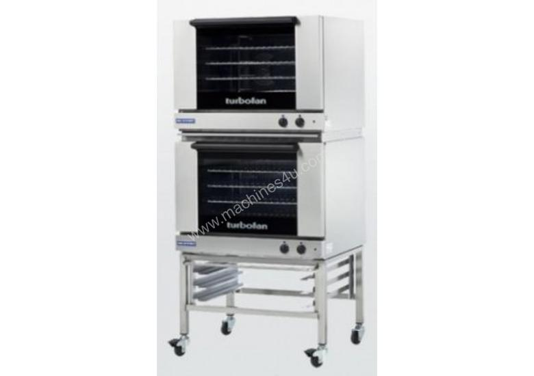 Turbofan E28M4/2C - Full Size Tray Manual Electric Convection Ovens Double Stacked With Castor Base