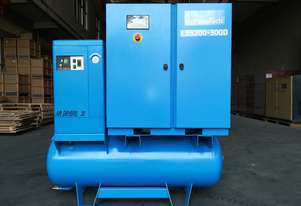 Pneutech 85 CFM/20hp Rotary Screw Compressor w/ Integrated Air Dryer & Receiver Tank.