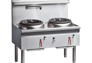 COBRA CW2H-CC - 1200MM GAS WATERLESS WOK WITH 2 CHIMNEY BURNERS
