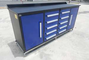 2.1m Work Bench/Tool Cabinet, 10 Drawers, 2 Doors (Blue)