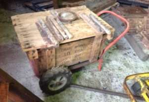 Old coffee table from industrial objects.