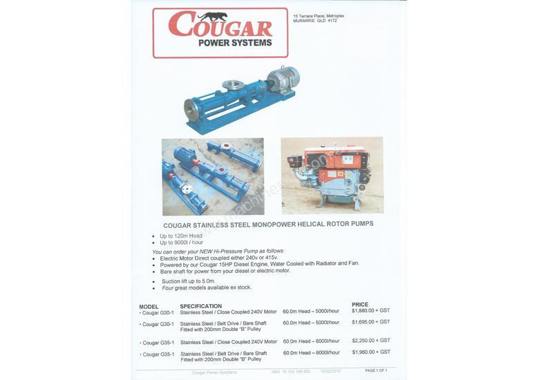 New cougar g35 1 diesel water pump in murarrie qld price for 7 terrace place murarrie