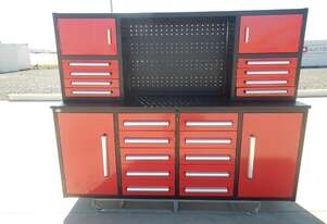 2.1m Work Bench/Tool Cabinet, 18 Drawers, 2 Doors (Red)