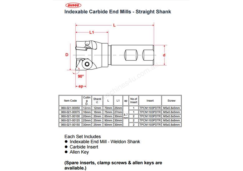 TiN Carbide Indexable End Mill 30mm Straight Shank