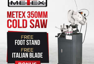 PRE-ORDER METEX Cold Saw 350mm with Stand Italian Blade Drop Sawing Metal Mitre