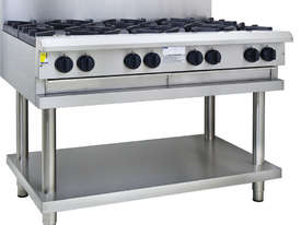 8 Burner Cooktop with flame failure, legs & shelf - picture0' - Click to enlarge