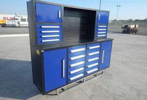 2.1m Work Bench/Tool Cabinet, 18 Drawers, 2 Doors (Blue)