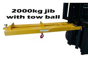 2000kg forklift jib attachment with tow ball