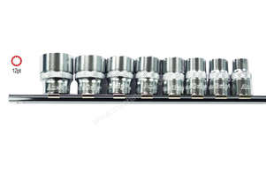 A75401 - 8 PC 3/8\ SQ. DR. 12 PT SOCKET SET SAE