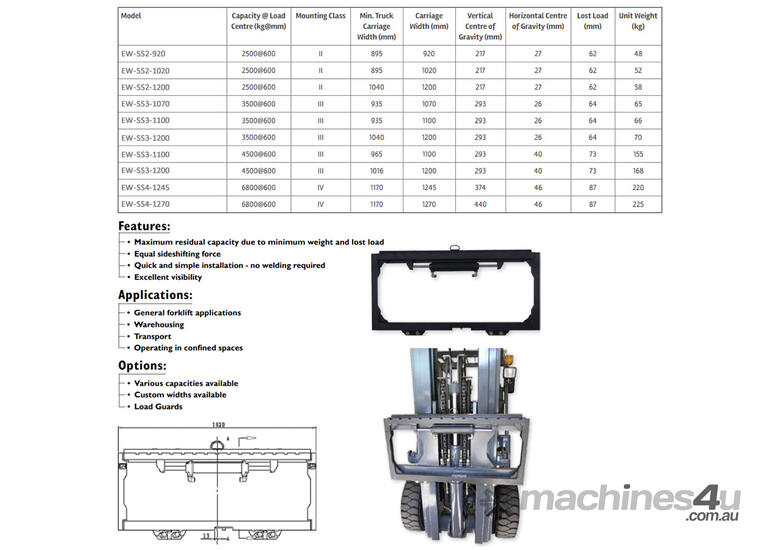 Hydraulic Forklift Attachments Sideshifts Class 3 - 1200mm Frame Width