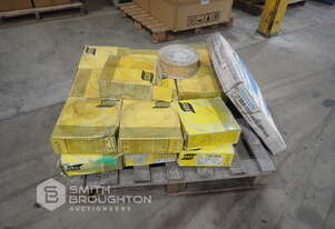 VARIOUS BOXES COMPRISING OF ASSORTED ESAB 1.6MM MIG WIRE & MACNAUGHT P8LF DRUM COOLER & PLATE