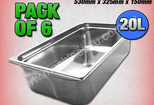 6 PACK OF 1/1 GASTRONORM TRAY 150MM
