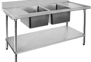 F.E.D. 2400-7-DSBC Economic 304 Grade SS Double Sink Benches 2400x700x900 with two 610x400x250 sinks