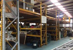 MEZZANNINE FLOOR: 85.7sqm Clear span with RACKING & SHELVING UNDER.