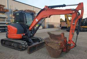 USED KUBOTA U55-4 EXCAVATOR WITH FULL A/C CABIN, HITCH, 4 BUCKETS AND LOW 1710 HOURS