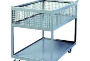 Half Basket Trolley 600 x 900 mm with 160mm Blue Rubber Wheels