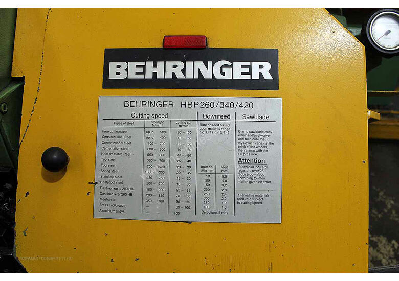 Behringer HBP 260A Automatic horizontal bandsaw