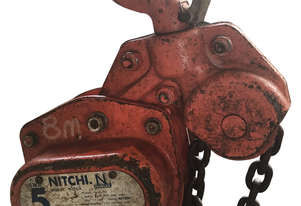 Nitchi Chain Hoist 5 ton x 8 meter drop Block and Tackle Nobles Shop Crane H50A