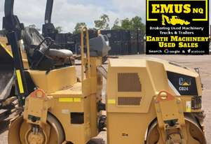 2013 CAT CB24 Smooth Dual Drum Vibrating Roller.  MS548A