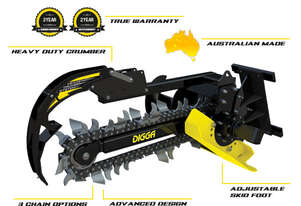 New Digga Excavator Trenching attachment 1.5t - 4.5t 100mm-200mm Earth Chain