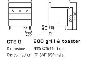 Luus GTS-9 900mm Griddle Toaster