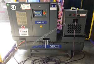 Hertz Screw Compressor 5.5kw tank mounted (250 litre tank) screw compressor with dryer & filters