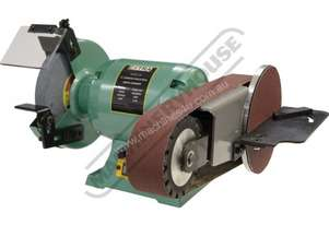 X8-PLUS Industrial Bench Grinder with Linisher & Mitre Table Ø200mm Medium Grade Wheel & 915 x 50mm