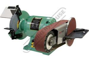 X8-PLUS Industrial Bench Grinder with Linisher & Mitre Table Ø200mm Medium Wheel & 915 x 50mm Linis