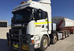 2014 SCANIA R SERIES PRIME MOVER WITH MEGA QUAD TRAILER SET