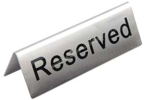Olympia Stainless Steel Table Sign - Reserved