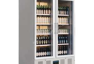 Polar Refrigerator Upright Display Cabinet 944Ltr White Body Double Glass Doors