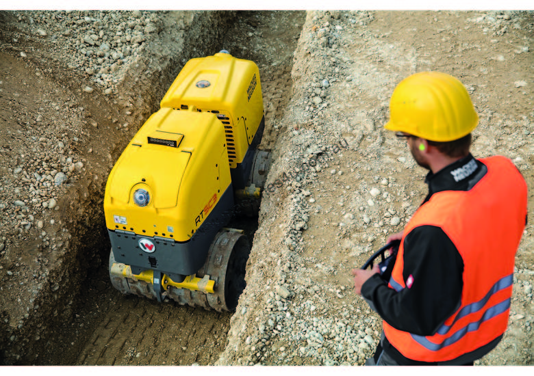 Remote controlled trench roller