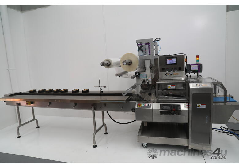 NEW CPM-9000 Flow Wrapper (Top Feed, Auto infeed belts, Packless function) CHECK OUT THE VIDEO!