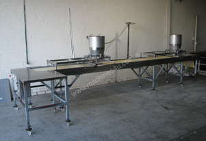 Large Long Pavlova Stainless Steel Motorised Belt Conveyor Variable Speed - 5.2m long