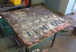 Table with old sign