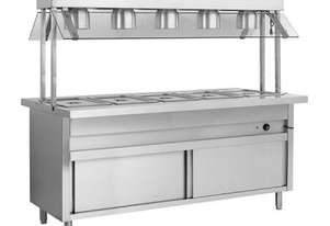 F.E.D. BSL6H Heated 6 Pan Bain Marie w/Top Lamp Warmers