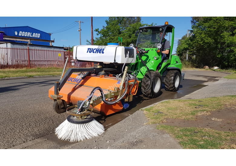 New Tuchel Sweeper Broom Attachment for Skid Steers Forward Moving Bucket Broom