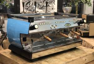 LA MARZOCCO GB5 3 GROUP ESPRESSO COFFEE MACHINE CUSTOM BABY BLUE BLACK CAFE