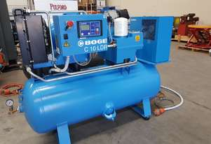 BOGE 3-IN-1 PACKAGED SCREW COMPRESSORS 7.5Kw/4Kw - VERY LOW HOURS + CHAMPION 11Kw $4,950