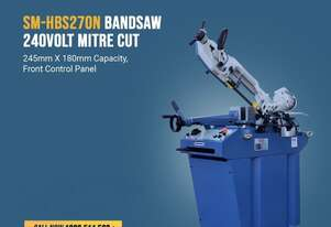 SM-HBS270N. Bandsaw 0 ~ 60 Degree  Mitre Cut. 245mm X 180mm Capacity, Front Control Panel,